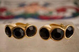 Vintage S.A.L Swarovski Triple Black Crystal Gold Tone Clip on Earrings