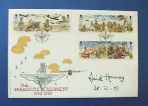 1992 ISLE OF MAN PARACHUTE REGIMENT FIRST DAY COVER SIGNED BY DAVID HANNAY CGS