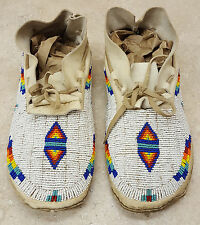 MENS 10 1/4 HAND CRAFTED FULLY BEADED BUCKSKIN NATIVE AMERICAN INDIAN MOCCASINS!