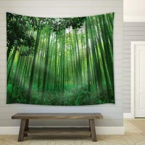 Wall26 Leaves Framing a Bamboo Forest Fabric - Wall Tapestry - 51x60 inches