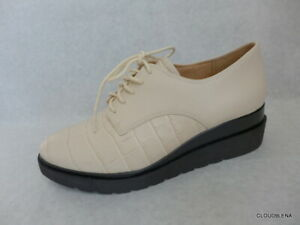 New NATURALIZER SONOMA Ivory Croc Leather Wedge Oxford Lace-Up Shoes Size 8.5M