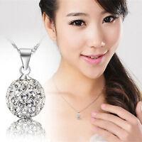 Fashion Women Silver Full Crystal Rhinestone Chain Necklace Pendant Jewelry Gift