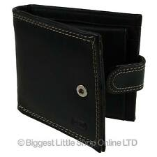 NEW Mens LEATHER Exterior PU Interior Tabbed Bi-Fold Wallet by Fabretti Change