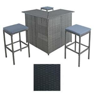 Polyrattan Gartenbar Set mit 3 Hocker Barset Rattan Bar Gartenmöbel Theke Tisch