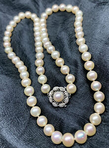 """Vintage Pearl Diamond Cluster Solid White Gold Necklace 14KT 6mm 23"""""""
