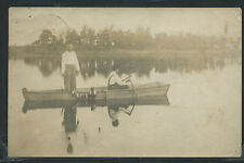 IN Silver Lake RPPC 1912 TWO MEN FISHING fm BOAT with STRING of FISH One of Kind