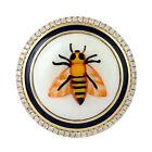 Bakelite Honeybee Ring Pave Diamond 18k Yellow Gold Enamel Handmade Jewelry