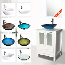 "24"" White Bathroom Vanity Cabinet & Glass Ceramic Vessel Sink W/ Faucet Drain"