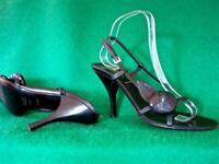 PRADA UK 5.5 /38.5 Black Leather Rosette Strappy Slingback Evening Sandals SHOES