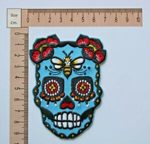 2 pcs. Sugar Skulll blue color embroidered iron on patch