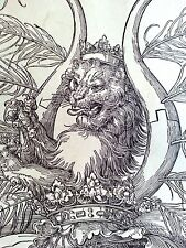 Albrecht Durer 10.75x15 woodcut original lion coat of arms newly framed