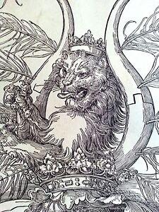 Albrecht Durer 10.75x15 woodcut Durand 1880s Lion Coat of Arms newly framed