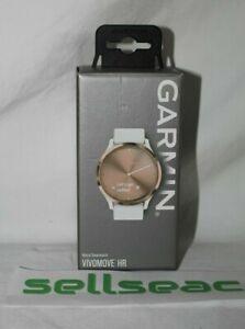 Garmin Vivomove HR Sport Smartwatch White Silicone Band Rose Gold S/M Brand New