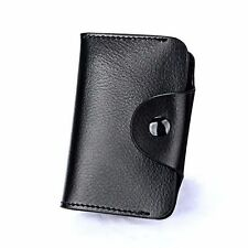 Leather Aluminum Wallet RFID Blocking Anti Scan Pocket Holder Credit Card Case Black