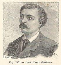B1823 Paul Gustave Doré - Incisione antica del 1925 - Engraving