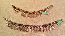 Vintage ca.1960 KENNEDY Gold Tone Charm Bracelets w/Donkey & State of Mass. RARE
