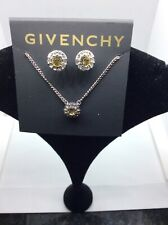 $48 GIVENCHY  yellow  STONE NECKLACE & STUD EARRINGS #301