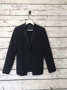 Zara Womens Tuxedo Blazer Size Medium Black Fitted Wool Blend