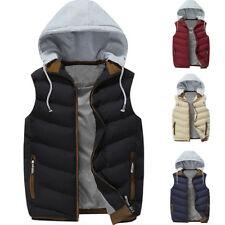 Winter Mens Hood Quilted Vest Body Warmer Puffer Sleeveless Padded Jacket Coat