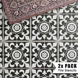 2x Tile Stencils - Bathroom Kitchen Wall Floor Tiles & Patio Slabs - Oxford