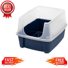 Open-Top Cat Litter Box With Shield Plastic Extra Tall Walls, Regular, Navy Blue