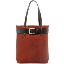 Jack Georges Belmont Open Top Tote Bag, Leather Handbag in Cognac
