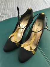Reiss Navy Yellow Gold Strappy High Heels 39 6 T Bar Satin & Leather