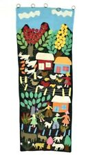 Vintage Patchwork Embroidered Farm Tapestry Wall Hanging Textile Wall Folk Art
