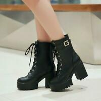 Goth Womens Punk platform Ankle Boots Chunky High Heel Lace Up Buckle Shoes