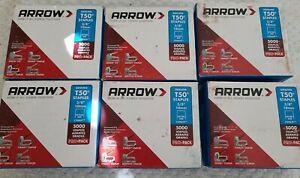 "6 BOX Arrow Fastener Heavy Duty T50 Staples 5000 - Pro-Pack  3/8"" x 3/8"", #5061P"