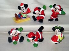 Vintage Schmid 5 Porcelain Christmas Ornaments Mickey Mouse 1 Minnie Figurines
