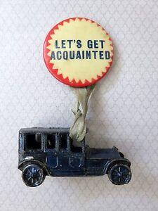 """Vintage Let's Get Acquainted Auto Sales Pinback 1-1/4"""" Button"""