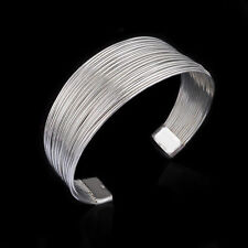 925 Sterling Silver Bangle Multiple Line Cuff Womens Fashion Bracelet DLB23