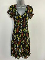 BNWT WOMENS EAST BUBBLE UK 10 BLACK MIX FLORAL PLEATED SHORT SLEEVE FLARE DRESS