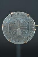 CRUZADO (200 REIS) Joseph I, Silver Coin Portugal coin silver mounted in brooch