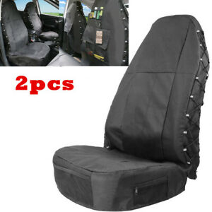 Multi-Pockets Storage Highback Bucket Seat Covers Set Fit For Auto Car SUV Van