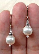 SILVER MOTHER OF PEARL PEARL LEVERBACK CHANDELIER EARRINGS Silver