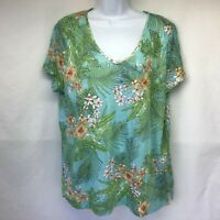 J. Jill Women's Love Linen Top Green Floral V Neck Short Sleeve Slits Tunic Sz L