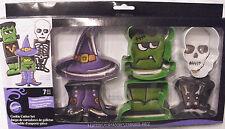 Halloween Cookie Cutters 7 pcs Wilton Metal Witch Frankenstein Skeleton NISB