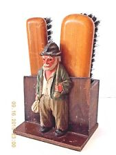 VINTAGE CARVED WOOD SHOE SHINE OLD-TIMER SHOE BRUSH SET CADDY