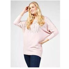Blush Pink Frank Usher Studded Animal Detail Jumper Size S/M New Glam Qvc
