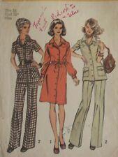 Lovely VTG 70 SIMPLICITY 5735 MS Cargo Dress or Tunic & Pants PATTERN 16/38B