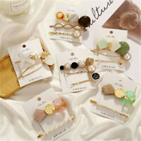 3Pcs Women Pearl Plastic Hair Clips Snap Barrette Stick Hairpin Hair Accessories