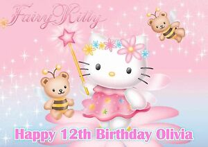 A4 EDIBLE HELLO KITTY HAPPY BIRTHDAY GIRLS NAME AGE ICING CAKE TOPPER PINK
