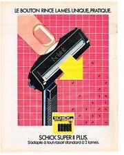 PUBLICITE ADVERTISING  1981  SCHICK super plus lames de rasoir