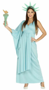 USA Statue of Liberty Ladies Fancy Dress American Novelty Womens Costume Outfit