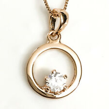 "1 Ct Round Diamond Pendant Necklace Rose Gold Plated 18"" Women Jewelry YW224"