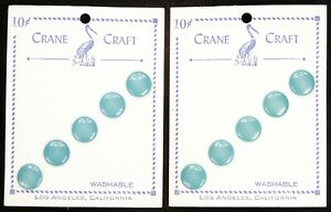2 Vintage 1930's-1950's Crane Craft Button Cards Pearlescent Teal Unused Mint