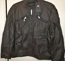 """ROCK & REPUBLIC Men's Faux Leather Moto Jacket """"Washed Black"""" Size X-Large NWT"""