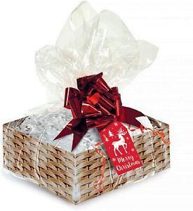 Christmas Make Your Own Hamper Kit Empty Gift Box with Ribbon Tissue & Cello Wra